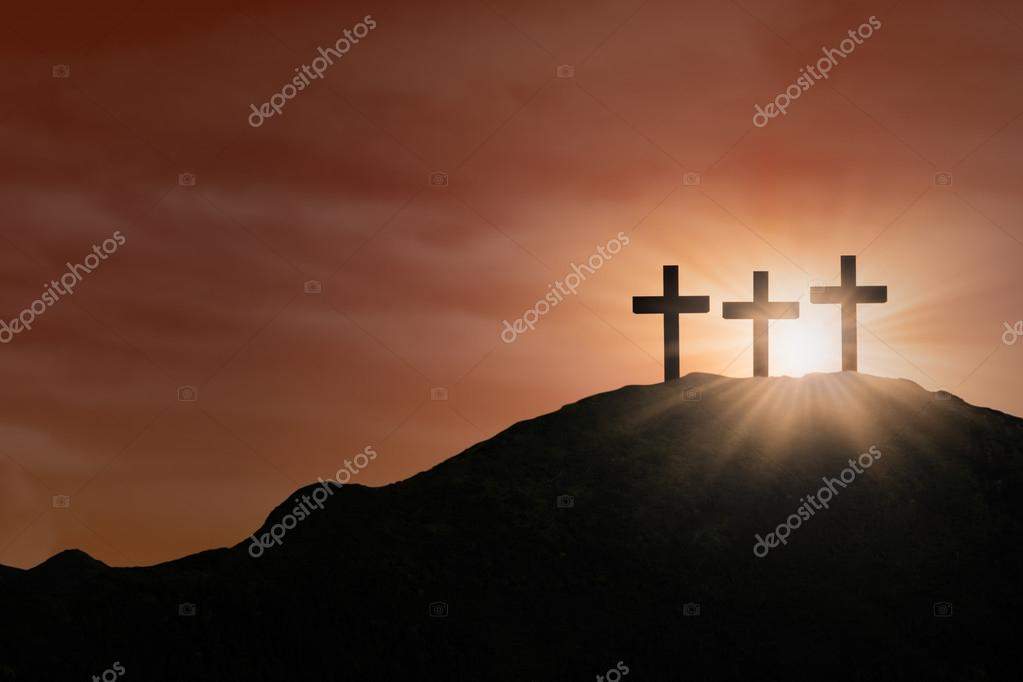 Three Cross signs on hill