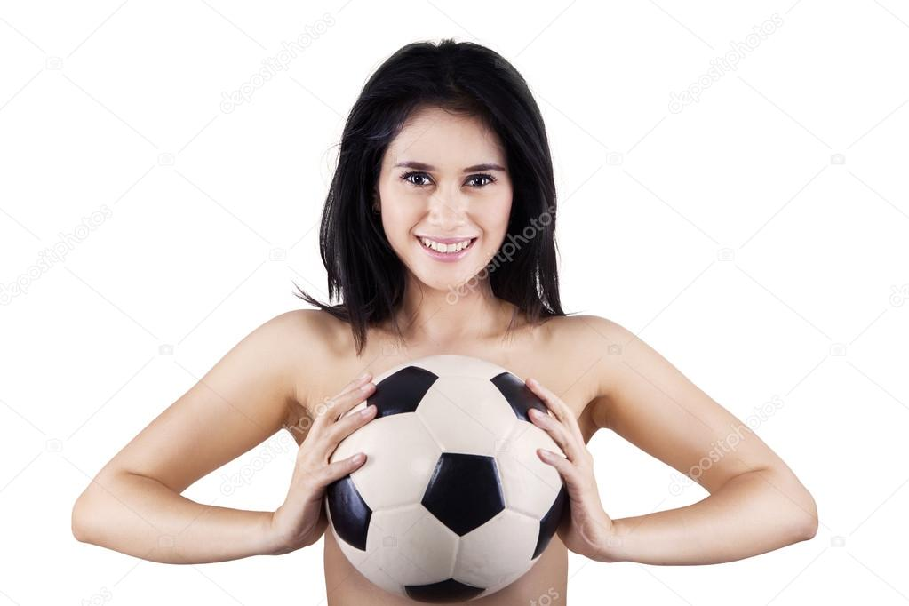 naked girls holding balls