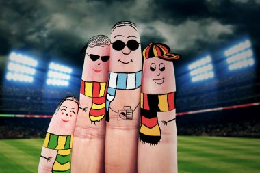 Fingers gesturing as football fans