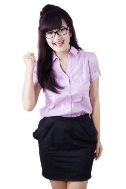 Successful businesswoman celebrate success