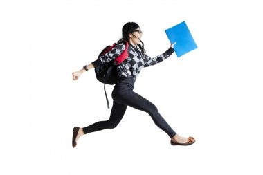 Casual female student running