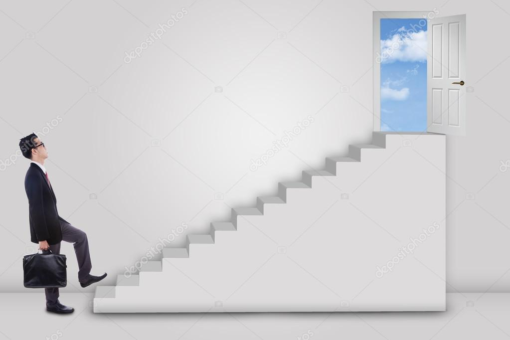 Businessman stepping up ladder to success door \u2014 Stock Photo : door stepping - pezcame.com