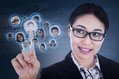 Close-up businesswoman choose people