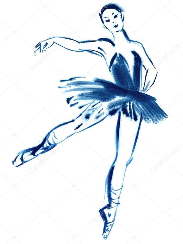 Dibujos Bailarinas De Ballet A Lapiz Bailarina Azul Dibujo