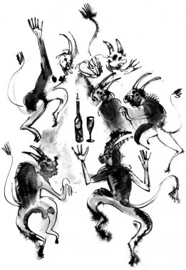 Dancing devils, ink drawing
