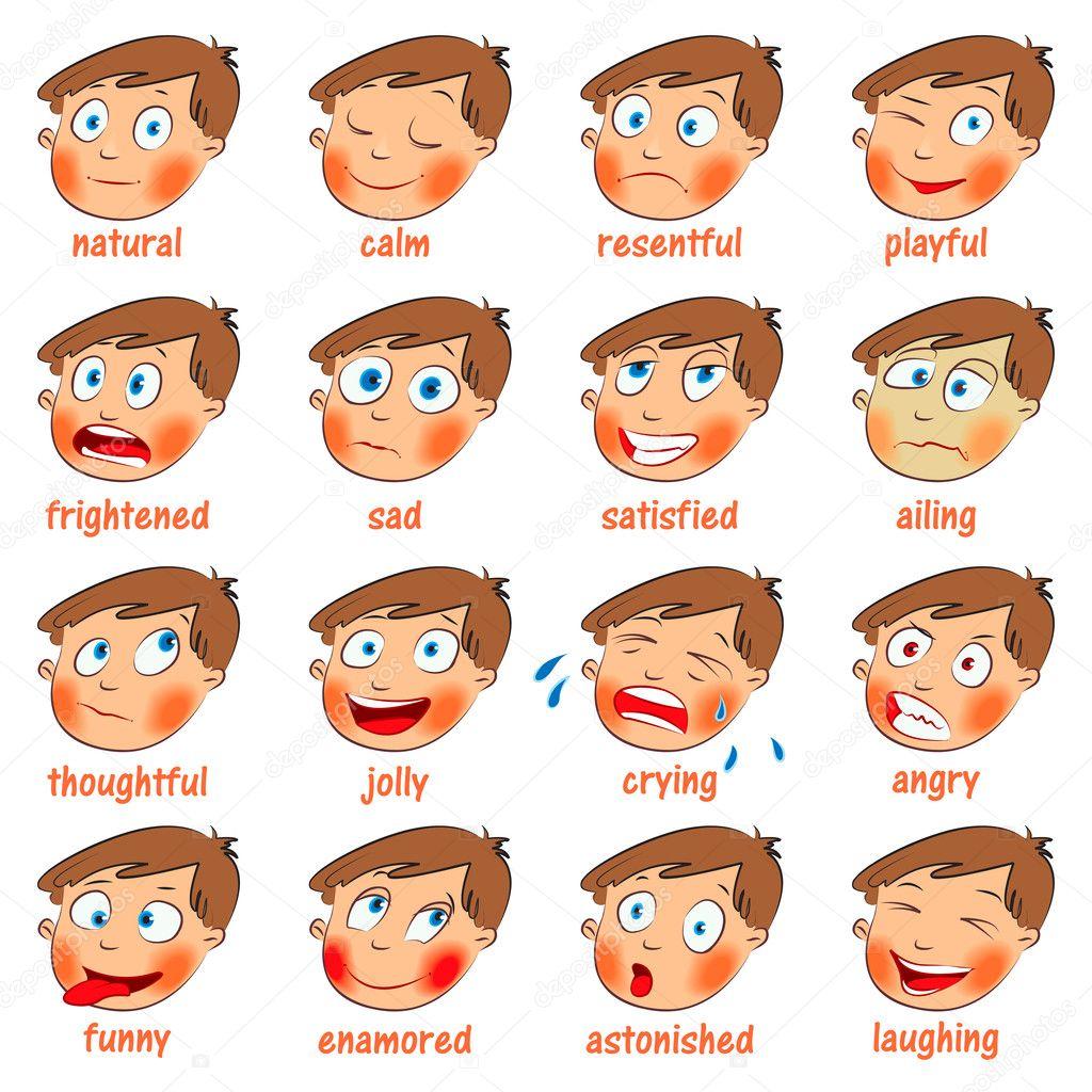 Bien-aimé émotions. jeu de dessin animé expressions faciales — Image  GS97