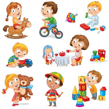 Children play with toys. Little girl riding a wooden horse, hugging a teddy bear, plays with a doll, boy sitting on a tricycle, playing with a toy car, bangs the drum, builds a house from cubes. Set stock vector