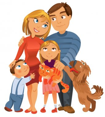 Happy family of four and two pets