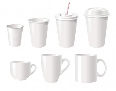 Collection of various white coffee cups