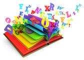 Fotografia lettere volano fuori un libro aperto. libro magico. fiaba. sfondo bianco. rendering 3D