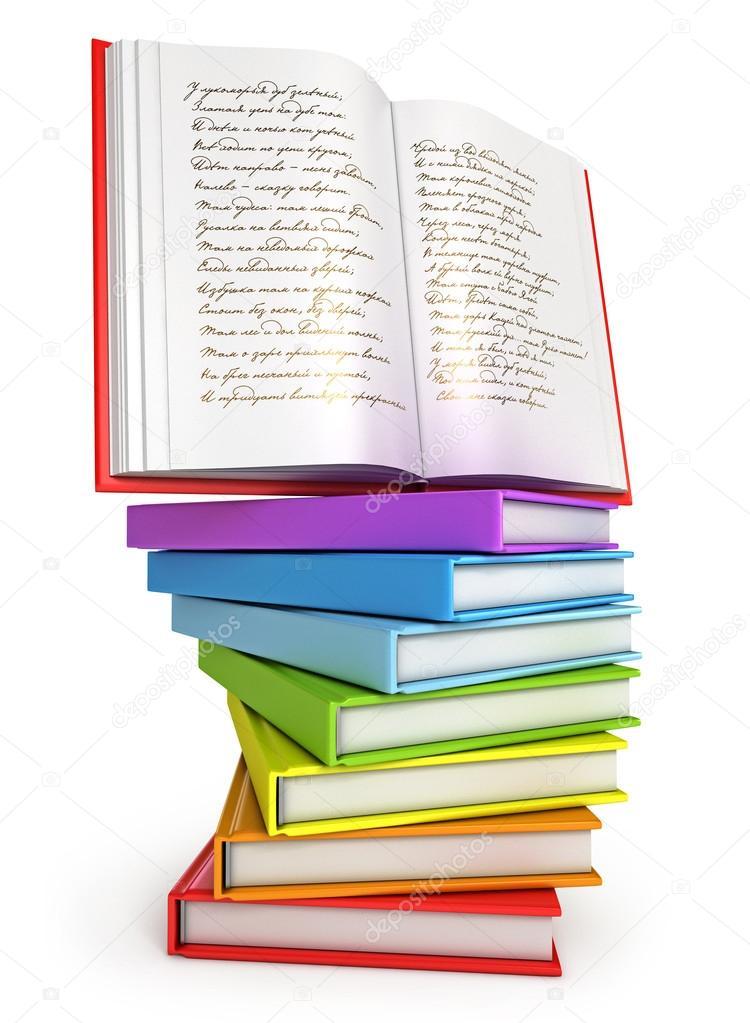 una pila de libros coloridos con libro abierto en la parte superior ...