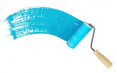 Roller brush with blue paint