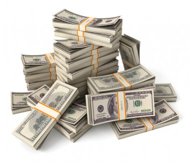 Stack of dollars. Conceptual illustration. Isolated on white background. 3d render stock vector