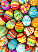 Photo Happy Easter. Background with painted eggs