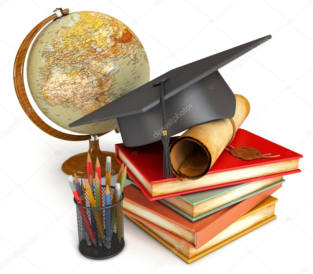 graduation cap diploma stack of books globe and various colour pencils in cup conceptual illustration isolated on white background