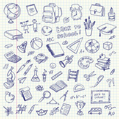 Freehand drawing school items on a sheet of exercise book. Back to School. Vector illustration. Set clip art vector