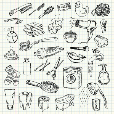 Freehand drawing hygiene and cleaning products