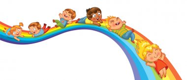 Children ride on a rainbow. Vector illustration. Isolated on white background stock vector