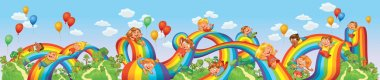 Children slide down on a rainbow. Roller coaster ride. Vector illustration. Seamless panorama stock vector