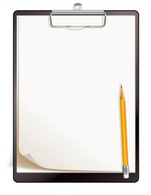 Black clipboard with blank sheets of paper. Top view. Vector illustration. Isolated on white background stock vector