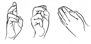 Praying hands. Hands in different interpretations