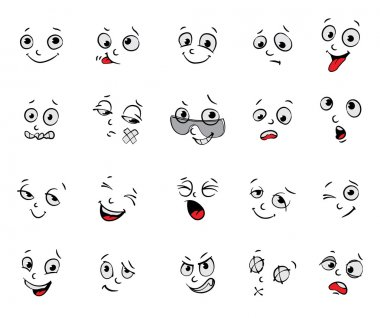 Emotions. Cartoon facial expressions set