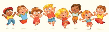 Children jump for joy. Banner. Vector illustration. Isolated on white background stock vector