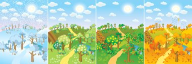 Four seasons. Concept of life cycle in nature. Images of beautiful natural landscapes at different time of the year - winter spring, summer, autumn. Vector illustration clip art vector