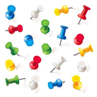 Set of push pins in different colors. Thumbtacks