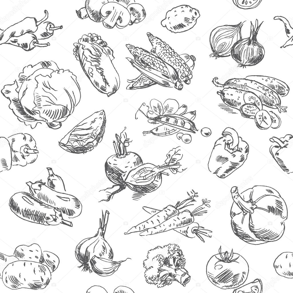Freehand drawing vegetables. Seamless pattern