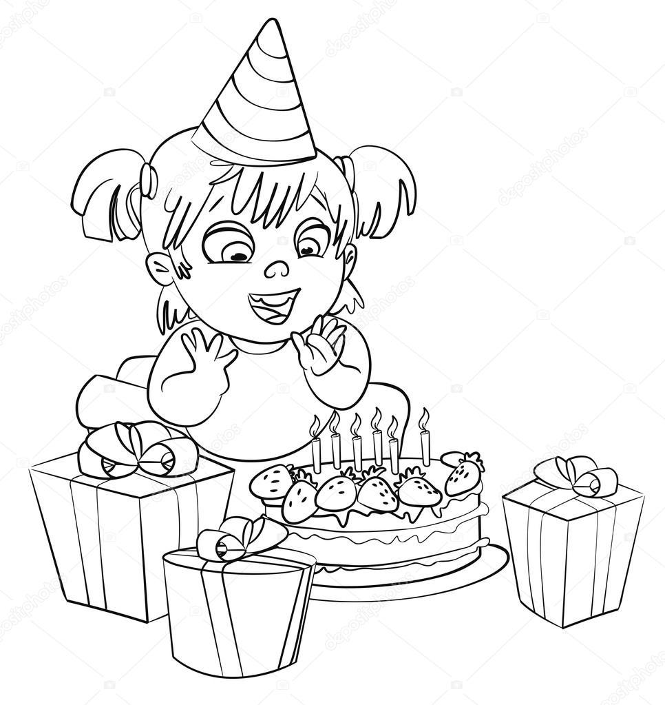 niña divirtiéndose celebrando su cumpleaños. libro para colorear ...