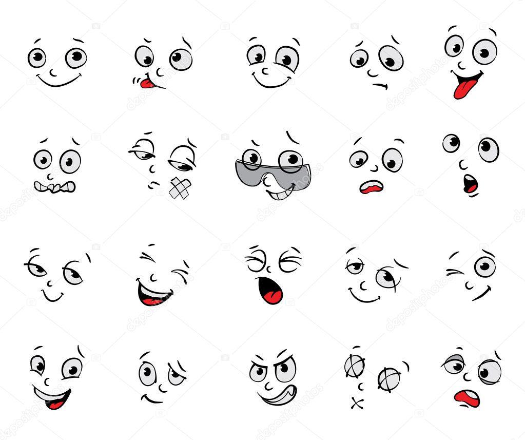 Dibujos Expresiones Faciales Cartoon Emociones Conjunto