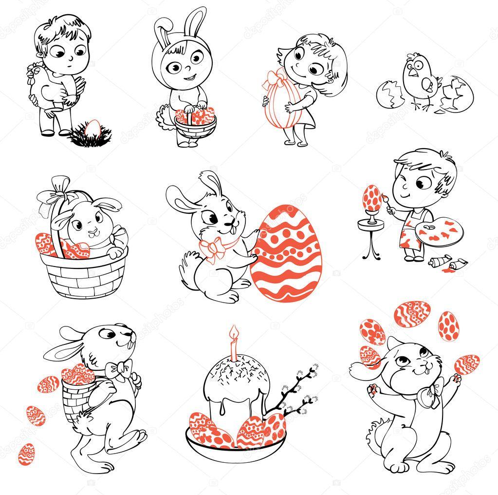felices Pascuas. libro para colorear — Archivo Imágenes Vectoriales ...