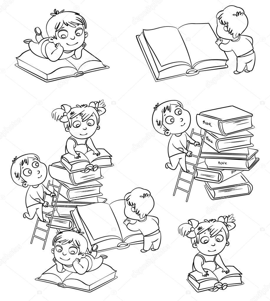 Bambini Leggendo Libri In Biblioteca Libro Da Colorare Vettoriali