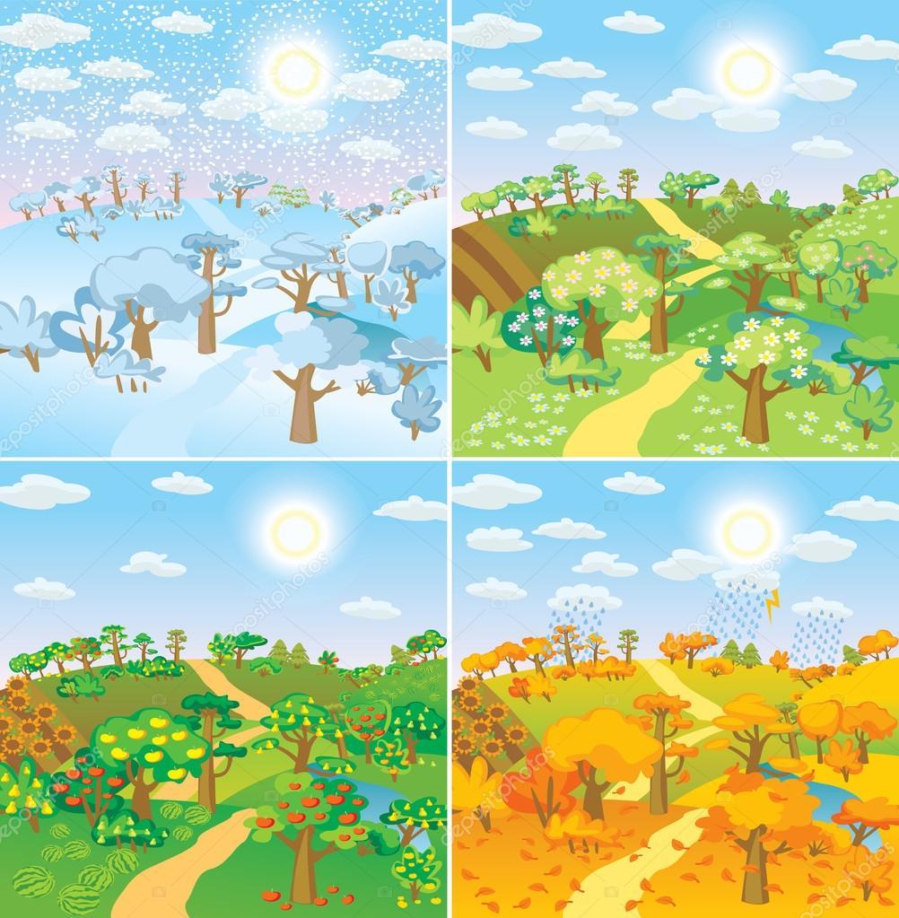 Картинка дети весной осенью зимой летом весной