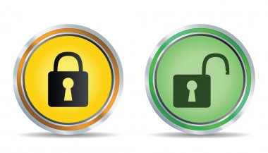 Circle lock icon. Vector illustration stock vector