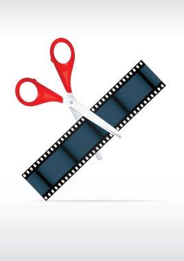 Scissors and film strip. Video editing