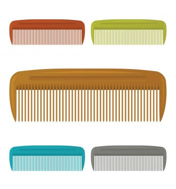 Set of plastic colorful hair comb. Vector