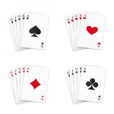 Royal straight flush playing cards set