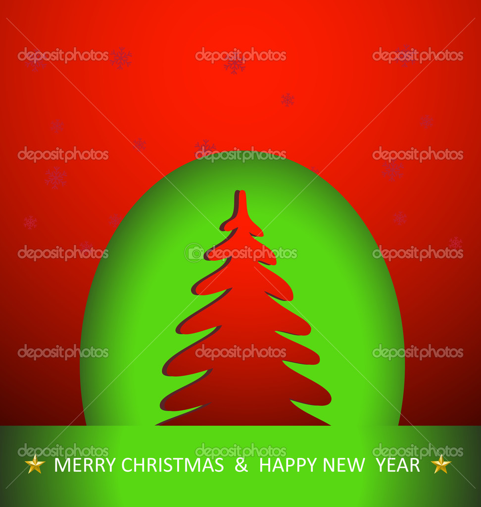 Christmas Tree Easy Color And Text Editable Stock Vector