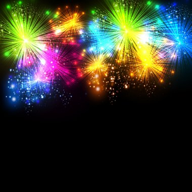 Happy New Year and christmas firework vector celebration backgro