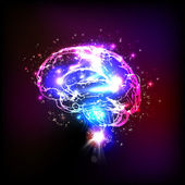 Fotografie Abstract light human brain, vector illustration