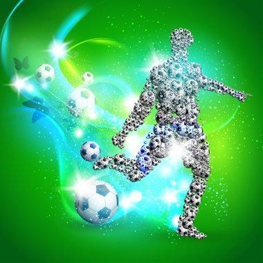 Soccer player kicks the ball, Vector illustration
