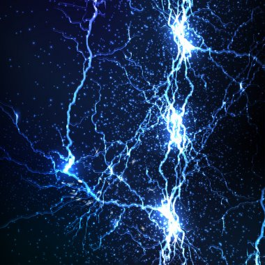 electrical sparks on a dark blue background