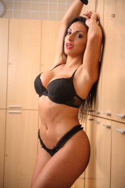 sexy woman at lockers room