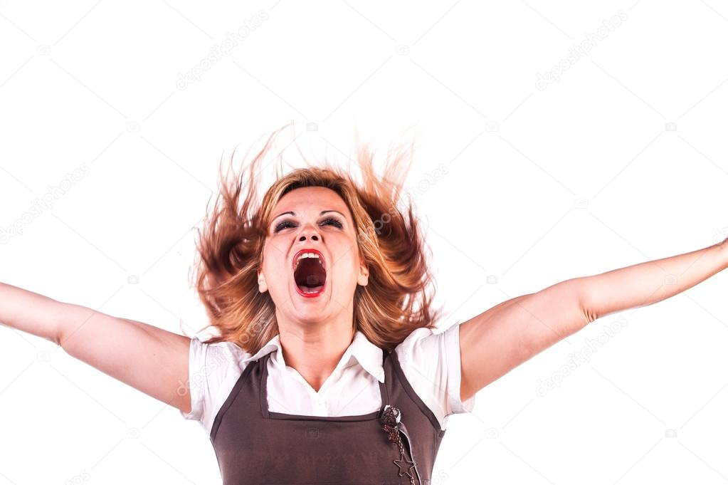 Topless girl's screaming and shouting on busy st