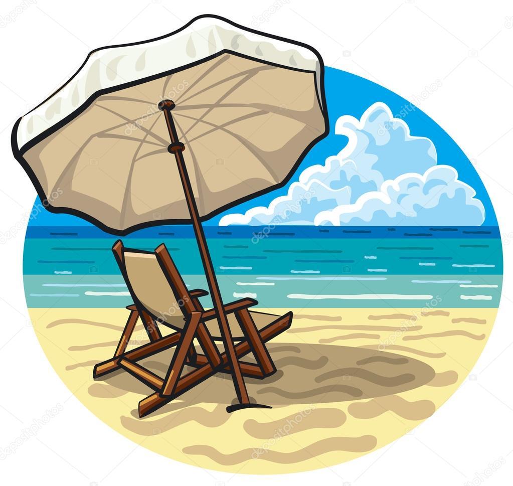 Beach chair and umbrella - Beach Chair And Umbrella Stock Illustration