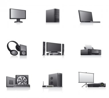 Set of computers and electronics devices icons