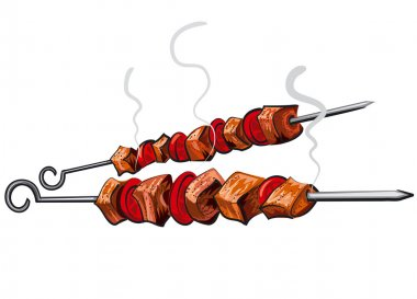 Grilled meat kebab stock vector