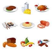 Fényképek étel és étkezés ikon készlet